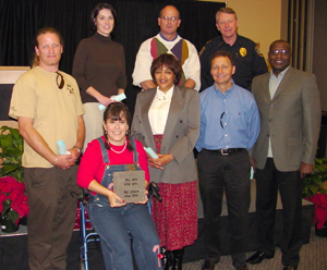 Back row, from left: Ayolane Halusky, DeeAnne Crookham, Rich Elmore and John Dean (accepting for Mark Foxworth); Front row, from left: Kara Tucker, Laurel Kendall, Michael Kennedy and Richmond Wynn