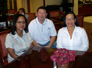 University of Belize delegates Yura Monsanto, Harry Lui and Cynthia Thompson (photo by Ellery Griffis)