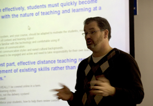Guest presenter Dr. Len Roberson from the College of Education and Human Services shares a few electronic-learning tips with faculty who attended an e-learning training Feb. 23