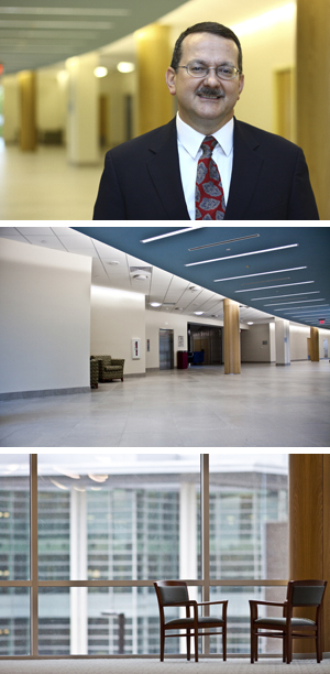 Dr. Larry Daniel is all smiles in the new College of Education and Human Services Building (photos by Josh Balduf).