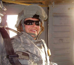 Dr. Linda Connelly, all geared up in a military helicopter in Iraq (photo provided by Connelly)