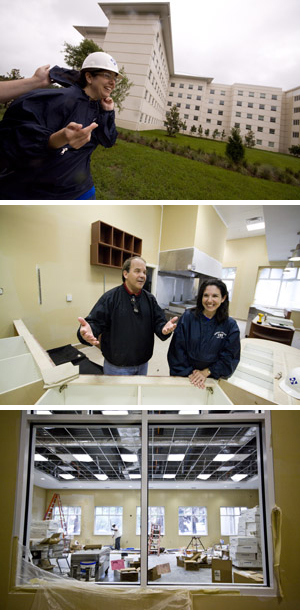 Lynn Hendricks and Paul Riel tour the new Osprey Villages residence hall to check on the building's progress (photos by Travis Flack).