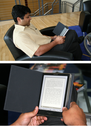 Dr. Saurabh Gupta demonstrates how to use an eBook reader (photos by Julie Williams).