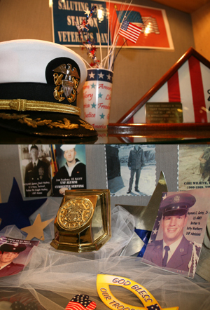 Veterans display case (photos by Julie Williams)