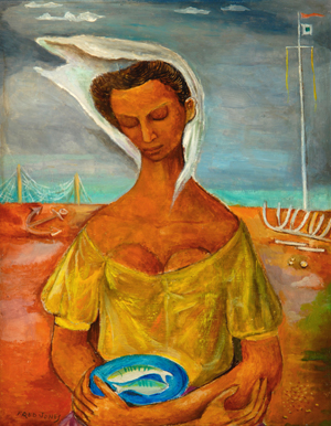 'Female Figure at Shore' - Oil on masonite by artist Frederick J. Jones
