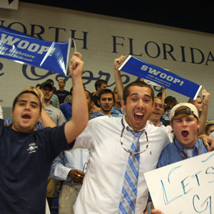 Osprey fans swooping it up at a recent basketball game (photo submitted by UNF Athletics)