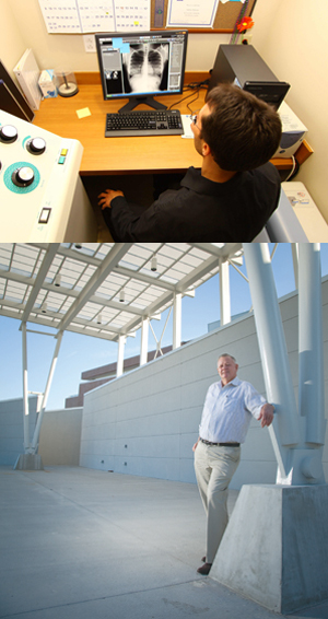 Radiologic technologist Anthony Morrison reviews a student's chest X-ray (photo by Josh Balduf); and below, J.B. Coxwell stands at the new Student Union amphitheater (photo by Fructuoso Navarro)