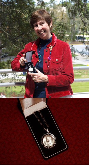 Dr. Dale Clifford displaying her Susan B. Anthony Award (photos by Mary Ann Rosenthal)