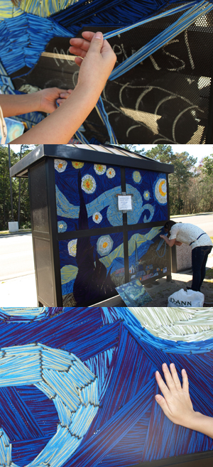 "Students creating Van Gogh's ""Starry Night"" at a bus stop on campus (photos by Mary Ann Rosenthal)"