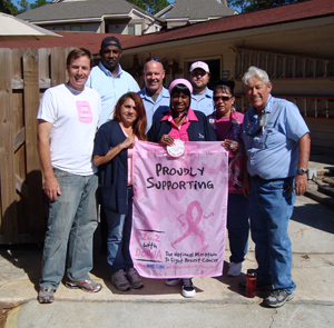 Housing and Residence Life staff members (front row, left to right) Dennis Holler, Sonia Moyeno, Francine Green, Bonnie Lagasse, Billy Duke, (back row, left to right) Mark Samon, Billy Moses and Joshua Harwell show their support of the 26.2 with Donna - National Marathon to Finish Breast Cancer.