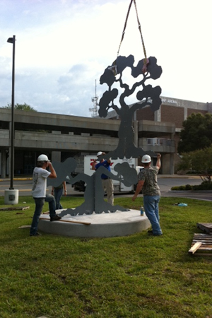 UNF art students and faculty inaugurated the Sculpture on Campus program by installing four large, steel sculptures.
