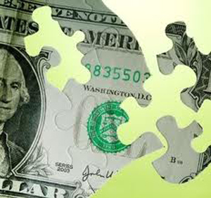 puzzle pieces of a dollar bill