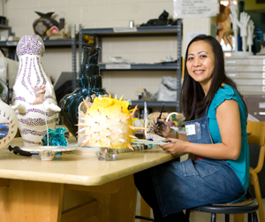 UNF educational leadershp doctoral student Mei Keisling in the ceramics studio on campus (photo by Mario Peralta)