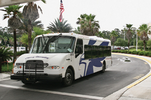 The UNF shuttle bus is paid for with student fees.