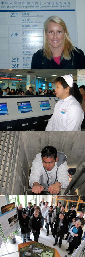 From top: Brooks College of Health student Maegan Pearce at the Shanghai Entry-Exit Inspection and Quarantine Bureau; a scene from a technologically advanced hospital in Xiamen, China; a Building Construction Management student descends onto a support for the highest bridge in Nantes, France, to get a better view; a group of students learn about the technology behind the Nantes Wind Tunnel.