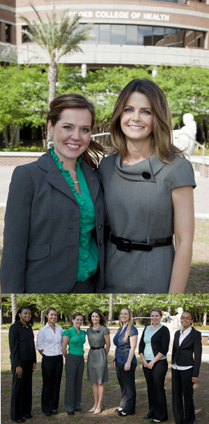 Top: Student Adrienne Williams and Professor Julie Merten; Bottom: Merten with students who conducted UNF's student health assessment survey (photos by Evan Hampton)