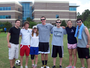 Brooks College of Health students take a breather from the Olympics games. (Photo courtest of Dr. Pam Chally)