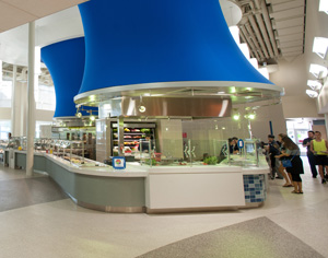 Osprey Cafe features two dining floors and about 10 different fresh food stations (Photo by Dennis Ho).
