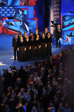 The UNF Choral ensemble performed before the nationally televised debate (photo by Michael LeGrand)