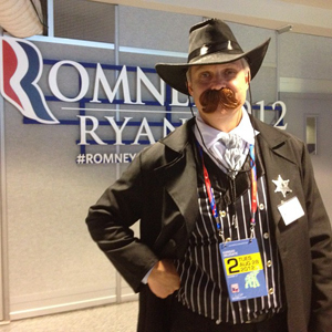 A delegate dressed as Wyatt Earp. This photo was featured in the Washington Post's coverage of the Convention (Photo by Paula Senn).