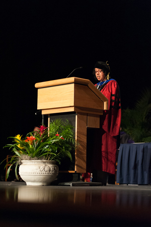 Dr. Mina Baliamoune-Lutz delivers the 2012 Distinguished Professor address (Photo by Dennis Ho).