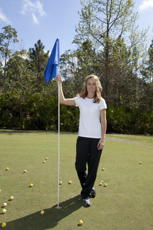 After a heart transplant and lengthy recovery, Joanne Steele is ready for anything — even building a new women's golf team at UNF. (Photo by Kelly Brown)