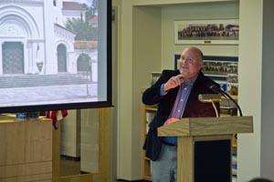 Lance Taylor presented his avocational photography to theThomas G. Carpenter Library. (Photo courtesy of Eileen Brady)