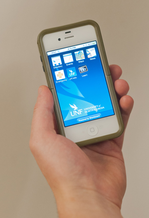 UNF's new mobile app puts all the University info you could ask for at your fingertips (Photo by Dennis Ho.)