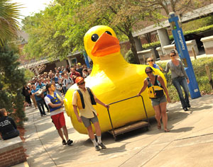 The procession leading Sgt. Quackers to the pond by the Library involved dozens of students (Photo by Jennifer Grissom).