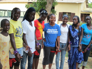 Jennie Davis with some of the residents of Mboro. (Submitted)