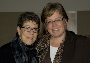 Dr. Ronni Sanlo poses with Dr. BJ Douglass, director of UNFs LGBT Resource Center