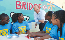 Blake Wilson of EverBank with students at The Bridge of Northeast Florida
