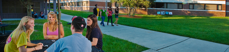 Students talking outside 1