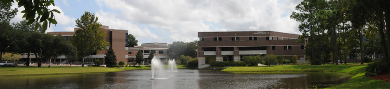 A view of the Coggin College of Business from the Student Union overlooking the lake.