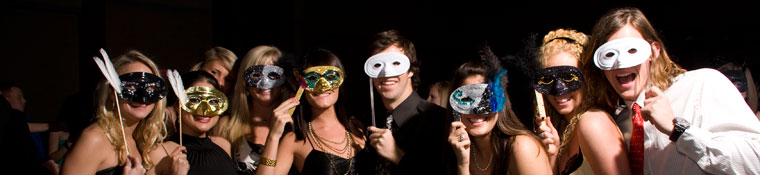 Group of students at a masquerade party