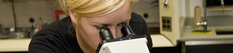 Biology student looks through microscope