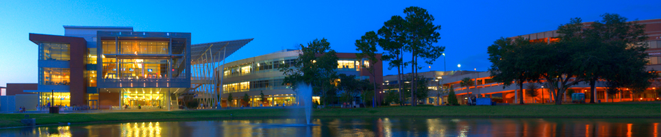 UNF Student Union at nighttime.