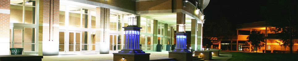 A night time view of the Fine Arts Center from the green located at UNF Campus.