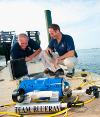 Two Engineers using testing equipment on a pier over water