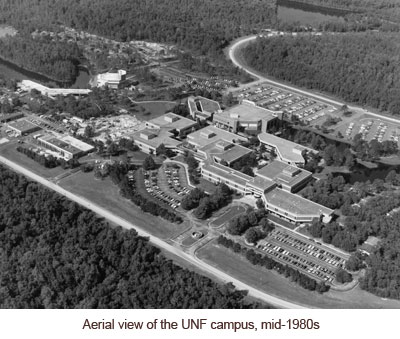 Aerial view of campus in 1980s