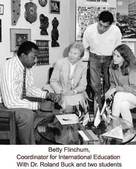 Flinchum with Dr, Buck and two students