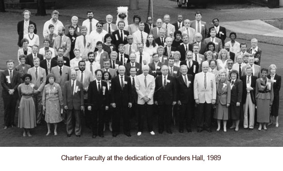 Charter Faculty in front of Founders Hall