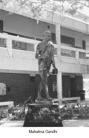 Gandhi statue on campus