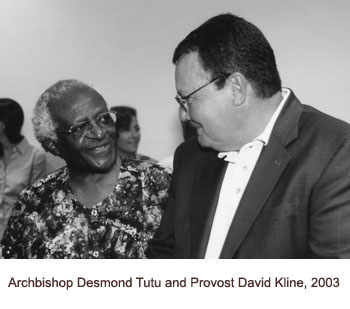 Desmond Tutu and Provost Kline