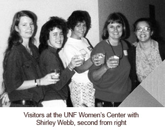 Shirley Webb with Women Center visitors