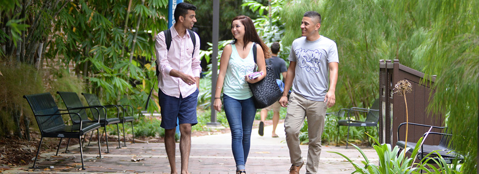 Three students walking and talking on the UNF campus
