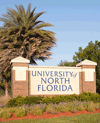 Campus entrance welcome sign
