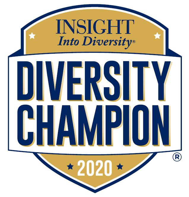 "Gold shield with the words ""Diversity Champion: across it"