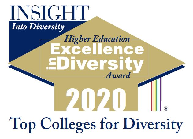 Gold mortar board with the words - Higher Education Excellence in Diversity Award 2020