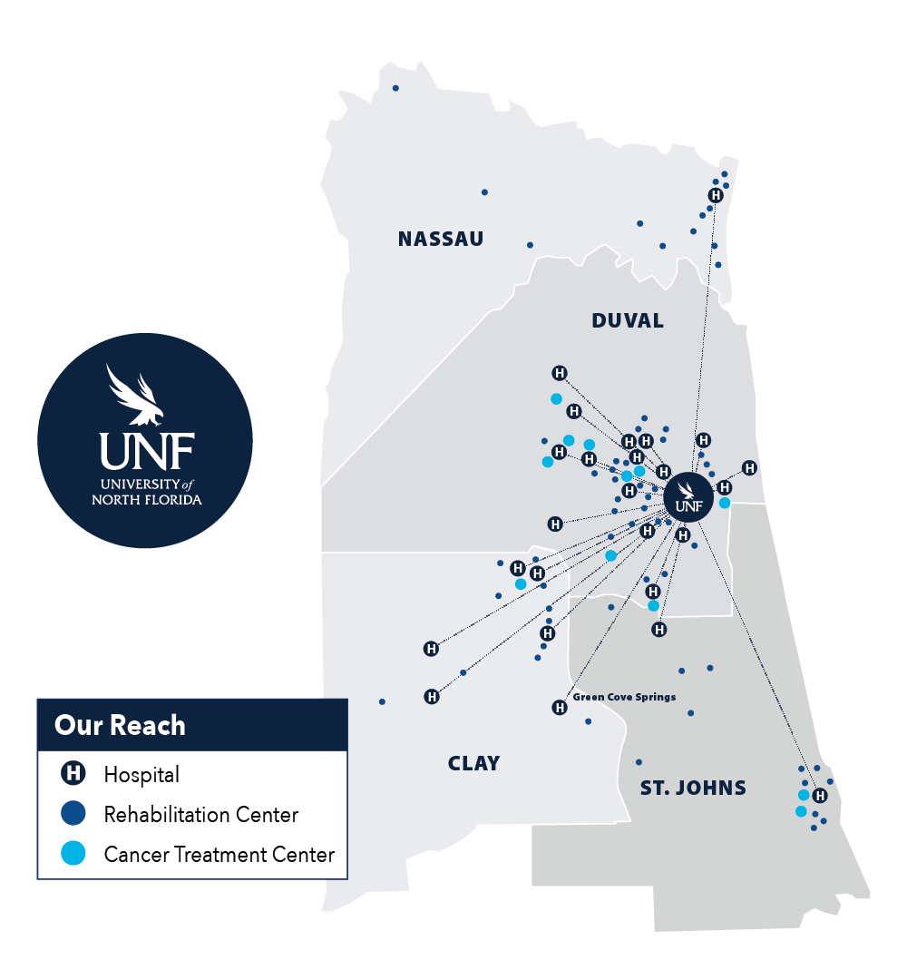 Map showing UNF partnerships between Nassau, Duval, Clay and St. Johns County